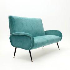 Divano a due posti in velluto anni 50, mid century italian sofa, zanuso style