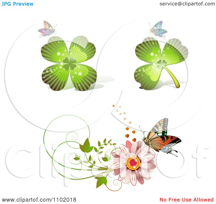 Clipart Shamrock Clover And Daisy Design Elements With Butterflies - Royalty Free Vector Illustration by merlinul
