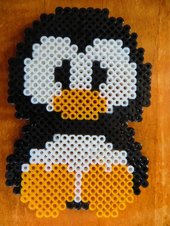 Cuddle Penguin  Perler Bead Magnet by ZoesCreations22