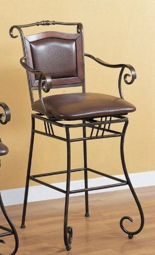 """29""""h Scroll Motif Bar Stool In Metal Finish by Coaster Home Furnishings. $148.34. kitchen bar stool; wrought iron stool; brown barstool; casual bar stool; bar stool wrought iron. 29""""H Scroll motif bar stool in metal finish featuring beautiful crafted details. Matching leather padded seat and back for your extra comfort. This furniture will definitely command some attention whenever someone see it. Lowest factory direct price guarantee.. Save 67%!"""
