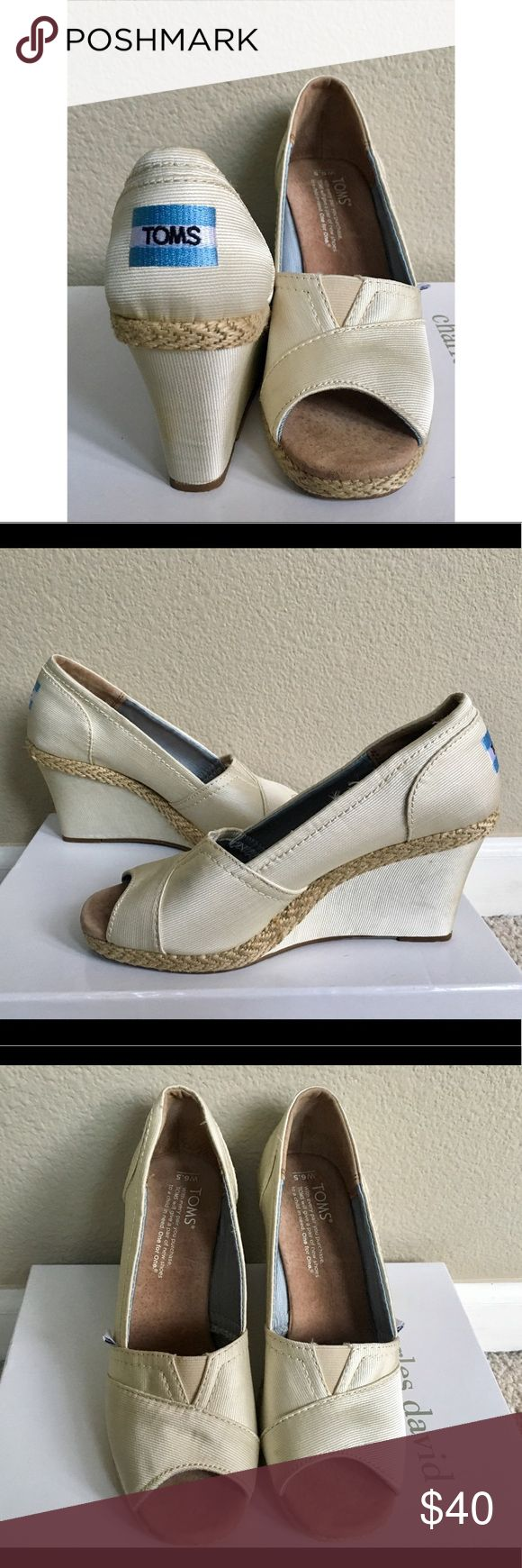TOMS Cream Wedges - Size 6.5 Never worn. 3 inch wedge heels. Perfect casual dressy shoes. Toms Shoes Wedges
