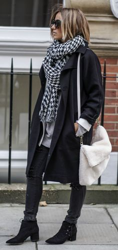 This sophisticated outfit consists of an oversized pattern scarf, black trench coat, and edgy ankle boots. We especially love Camille Callen's faux sheepskin satchel from Asos. Jumper/Blazer/Bag/Boots: ASOS, Coat: Topshop, Jeans: Primark, Scarf: Sheinside. Cute Fall Outfits.