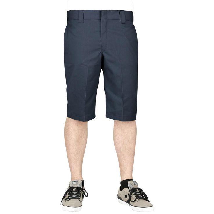 "#Pantaloni color blu scuro modello ""803 Slim Fit Work Shorts"" di Dickies, perfetti per l'estate. Muniti di 5 tasche."
