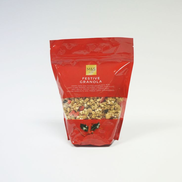 M&S Festive Granola Glossy Bespoke Stand-up Pouch. #Surepak #Packaging #Christmas