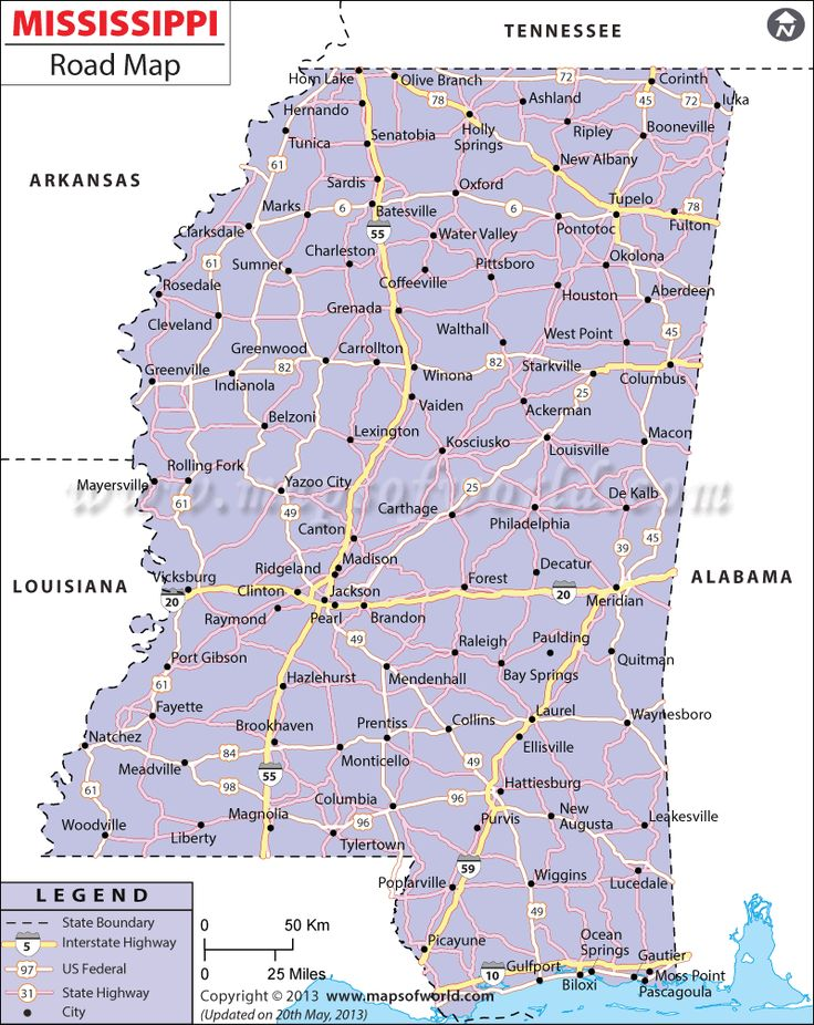 mississippi road map displaying the mojor roads highways interstates running via mississippi state in the us