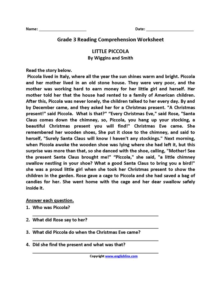 Little Piccola Third Grade Reading Worksheets Reading Worksheets Reading Comprehension Worksheets Third Grade Reading