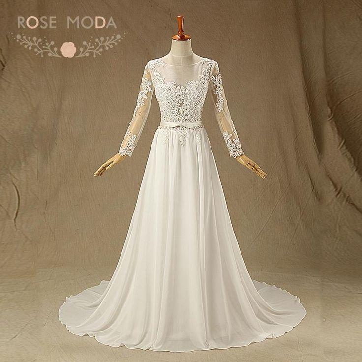 Rose Moda Backless Beach Wedding Dress Long Sleeves Wedding Dresses Boho Vestidos de Noiva Real Photos  #beachweddingdresses #vintageweddingdresses #bridalgowns #weddingdresses
