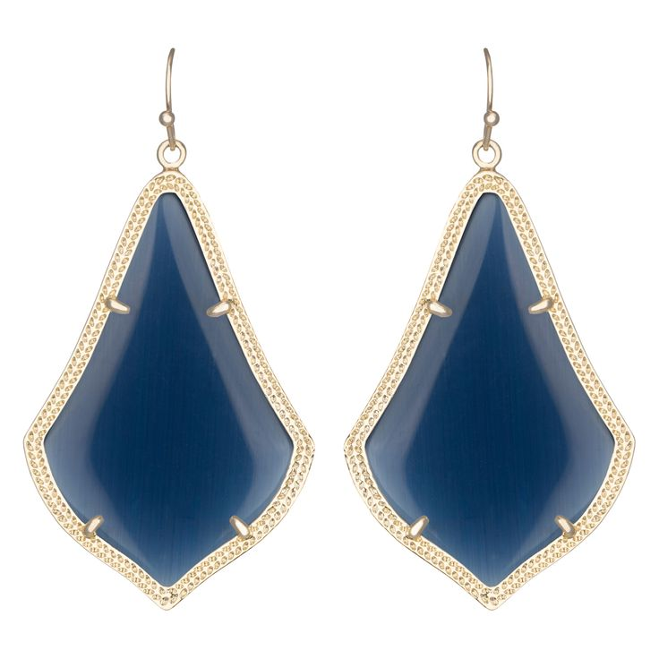 Kendra Scott Alex Gold Navy Cats Eye Earrings #laylagrayce