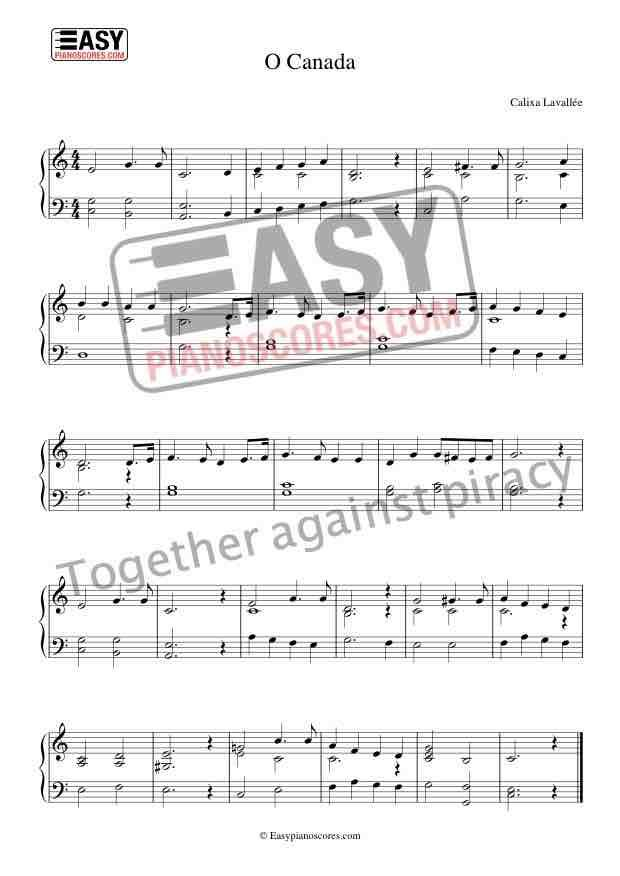 O Canada The National Anthem Of Canada Sheet Music Canadian