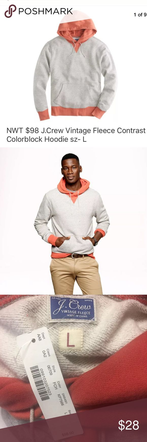 "J. CREW Vintage Fleece Contrast Colorblock Hoodie J. CREW (06709) Vintage Fleece Contrast Colorblock Hoodie (Gray, Orange). New with tag.   Size on tag- L Measures approximately: 22.5"" from armpit to armpit 27.5"" from shoulder to cuff 28.5"" length  Product Details from J. Crew:  Forget everything you thought you knew about hoodies. This is the grown-up guy's hoodie. 	•	Cotton fleece. 	•	Rib trim at cuffs. 	•	Kangaroo pocket. 	•	Machine wash J. Crew Sweaters"