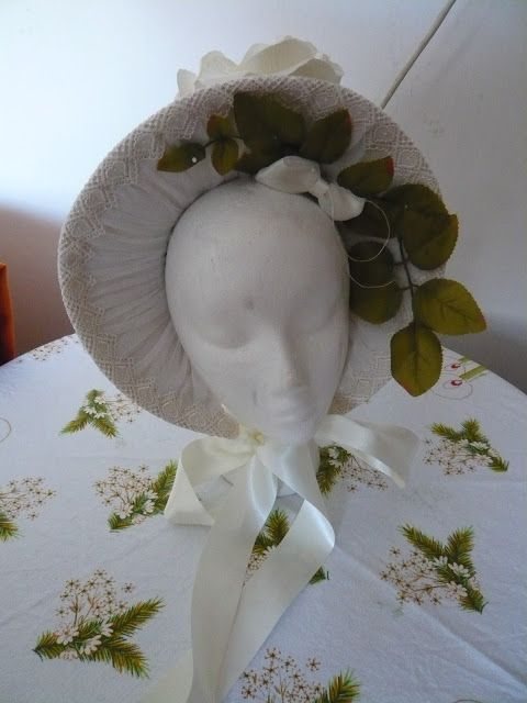 Dollhouse Diaries WIP: White and Cream Rose Bonnet (soon for sale)
