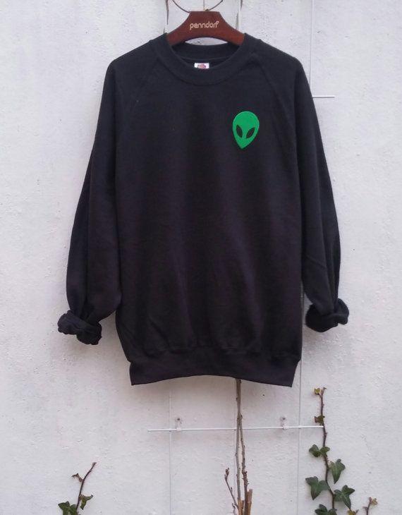Zure Alien Sweatshirt grunge tumblr van SpacyShirts op Etsy