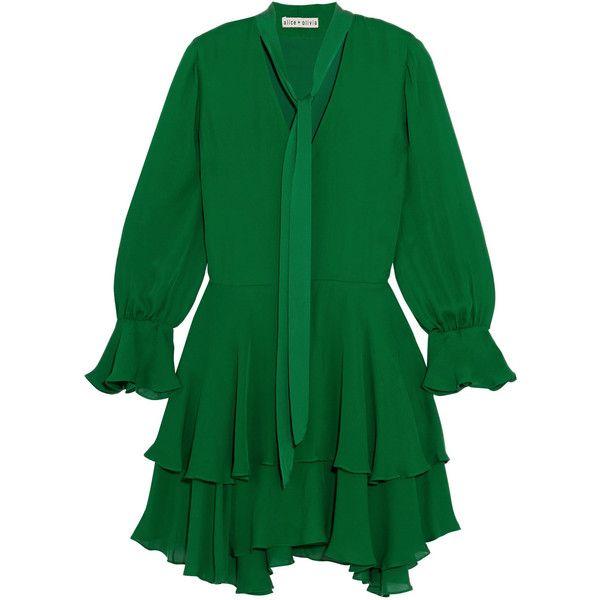 Alice + Olivia Moran silk mini dress (€390) ❤ liked on Polyvore featuring dresses, green, green necktie, tie neck tie, long-sleeve mini dress, long silk dress and neck-tie