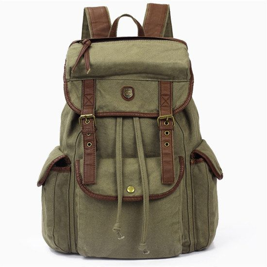 Hey, I found this really awesome Etsy listing at https://www.etsy.com/listing/163059366/green-leather-canvas-backpack