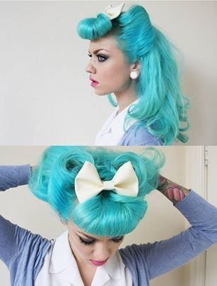 Rockin' Retro Tiffany Blue Hair! :: Rockabilly Hairstyles:: Retro Hair :: Blue hairstyles