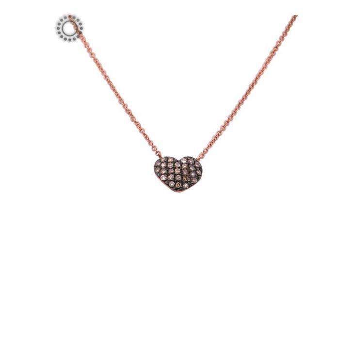Μοντέρνο κολιέ από ροζ χρυσό Κ18 με κυρτή καρδιά γεμάτη από καφέ (cognac) διαμάντια | Κολιέ με διαμάντια online Κόσμημα ΤΣΑΛΔΑΡΗΣ στο Χαλάνδρι #καρδιά #διαμάντια #κολιέ #ροζ #κόσμημα