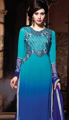 Beautiful Indian Turquoise Georgette A Line Suit