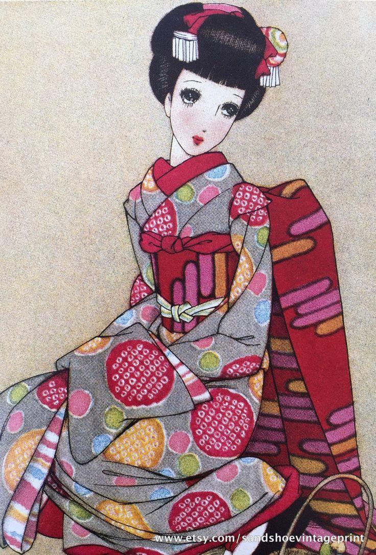 1942 JUNICHI NAKAHARA Big Eyed Girls in KIMONO Three Prints Bundle Perfect for Framing by sandshoevintageprint on Etsy