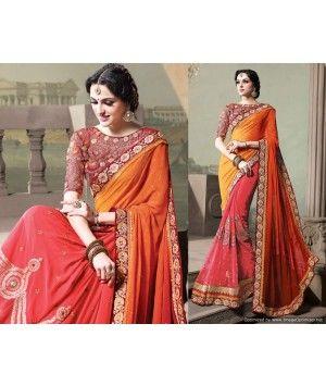 Brown ,yellow and pink resham embroidery work designer saree