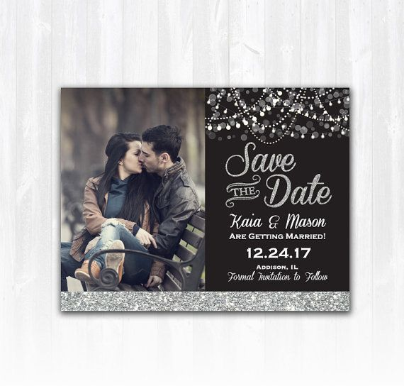 Silver Glitter Save The Date Magnet or by TreasuredMomentsCard