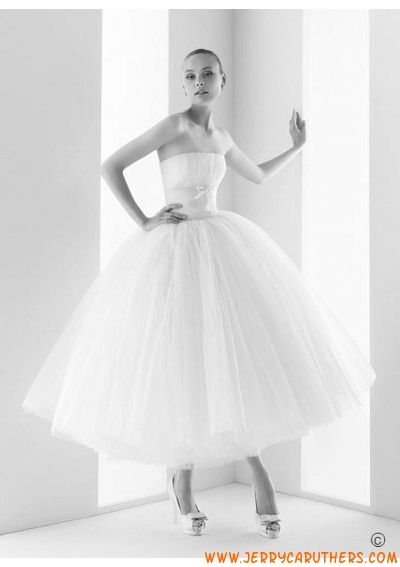 baljurk Tea length tule bruidsjurk strapless ballet stijl jurk