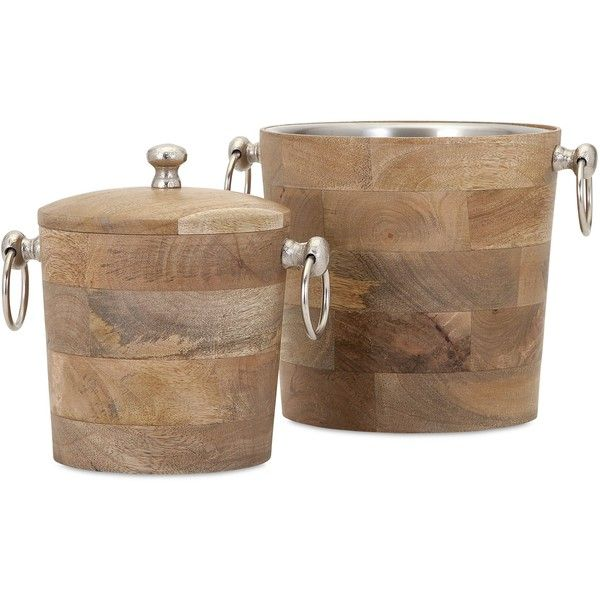 Imax Makana Wood Bar Buckets ($126) ❤ liked on Polyvore featuring home, kitchen & dining, bar tools, brown, wooden bucket, colored buckets, wood ice bucket, food safe bucket and drink bucket