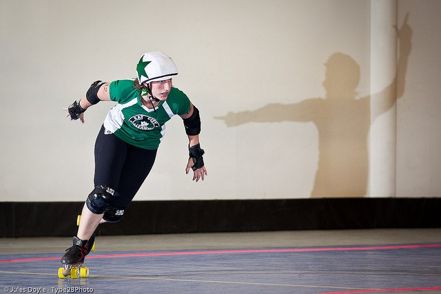 Carmen Getsome of the Rat City Rollergirls. I love the jam ref shadow in this. Picture by Jules Doyle (aka Axle Adams).: Sweet Pics, Rollers Derby Photo, Photo Derby