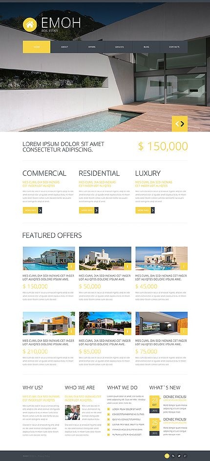 Friendly, clean responsive Real Estate Design for Joomla! 3.2.1, with headerslider, Item:48259, $75 = http://templates-n-more.com