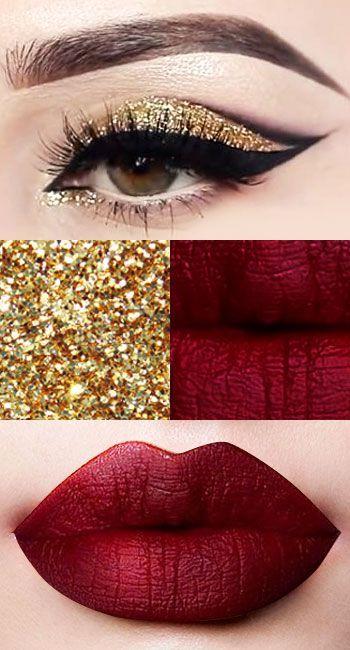 Eines der besten Weihnachts-Make-up-Looks – Goldglitter-Lidschatten, sexy Eyeliner-P …