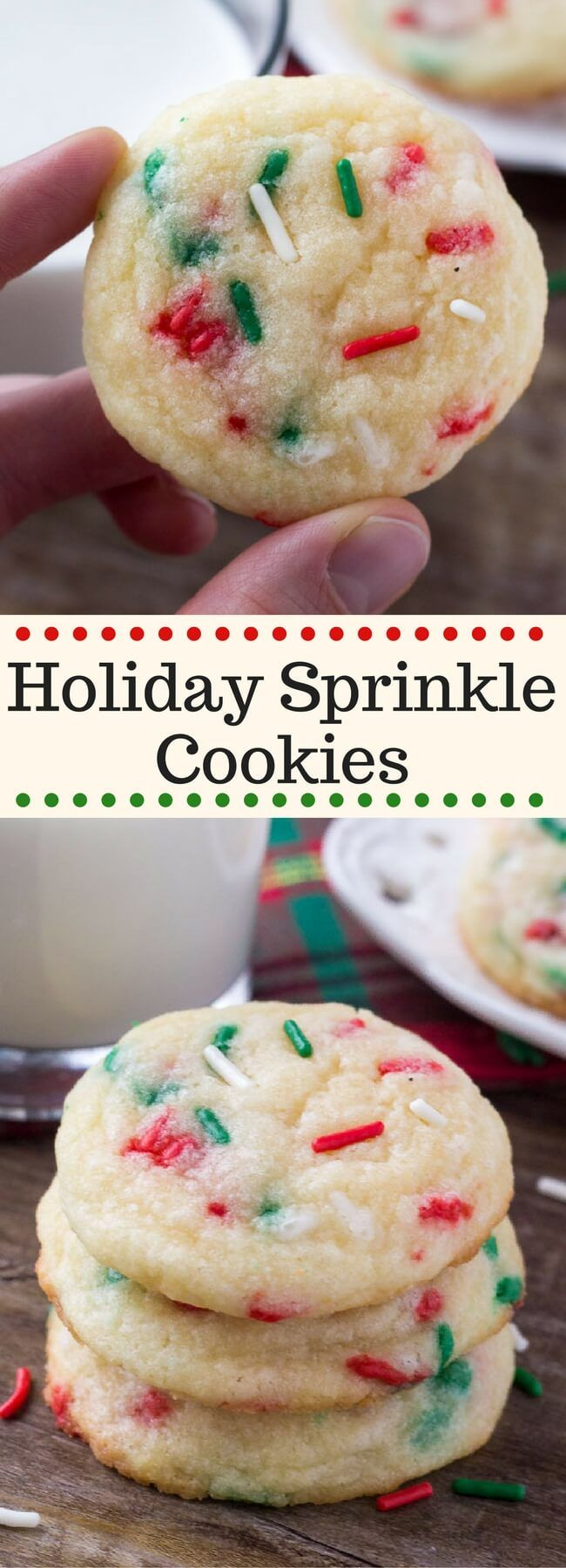 These Holiday Sprinkle Cookies are pillowy soft and melt-in-your mouth. They have a delicious buttery vanilla flavor and are packed with sprinkles. They're the perfect easy cookie recipe for your holiday baking. #sprinklecookies #holidaycookies #christmascookies