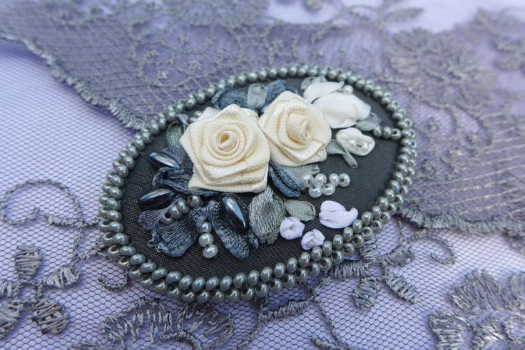 Grey-cream-white vintage inspired floral cameo brooch- necklace pendant- hair accessory- textile jewelry with ribbon embroidered white roses by Virvi on Etsy