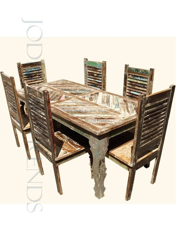 The recycled wooden dining set from jodhpur is made