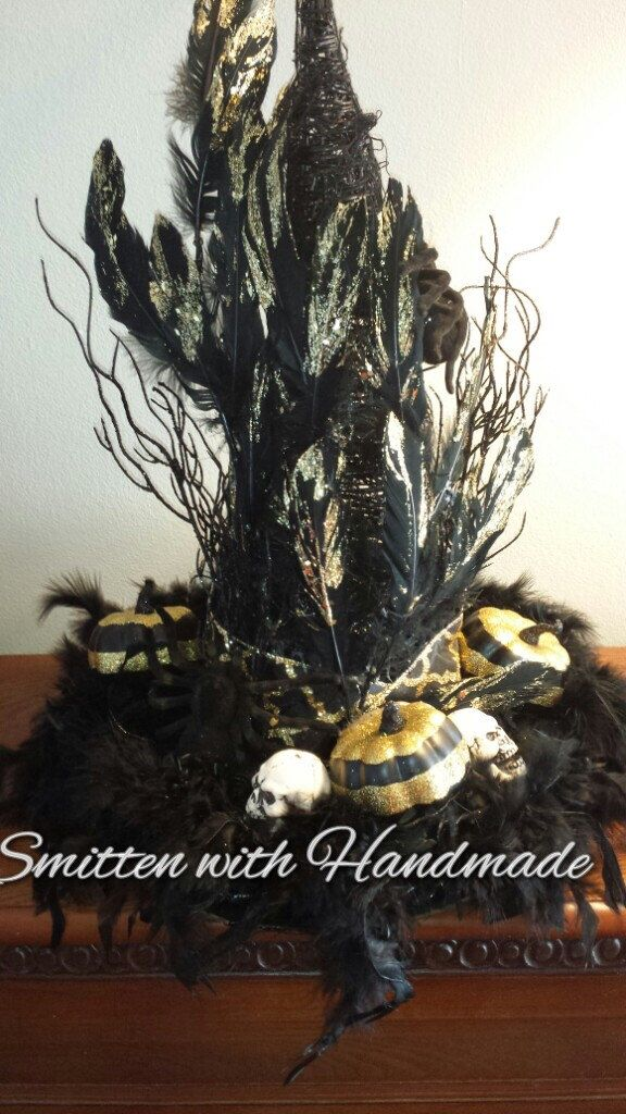 halloween witch centerpiece witchs hat elegant witchs hat centerpiece black and gold witchs centerpiece halloween decoration - Etsy Halloween Decorations