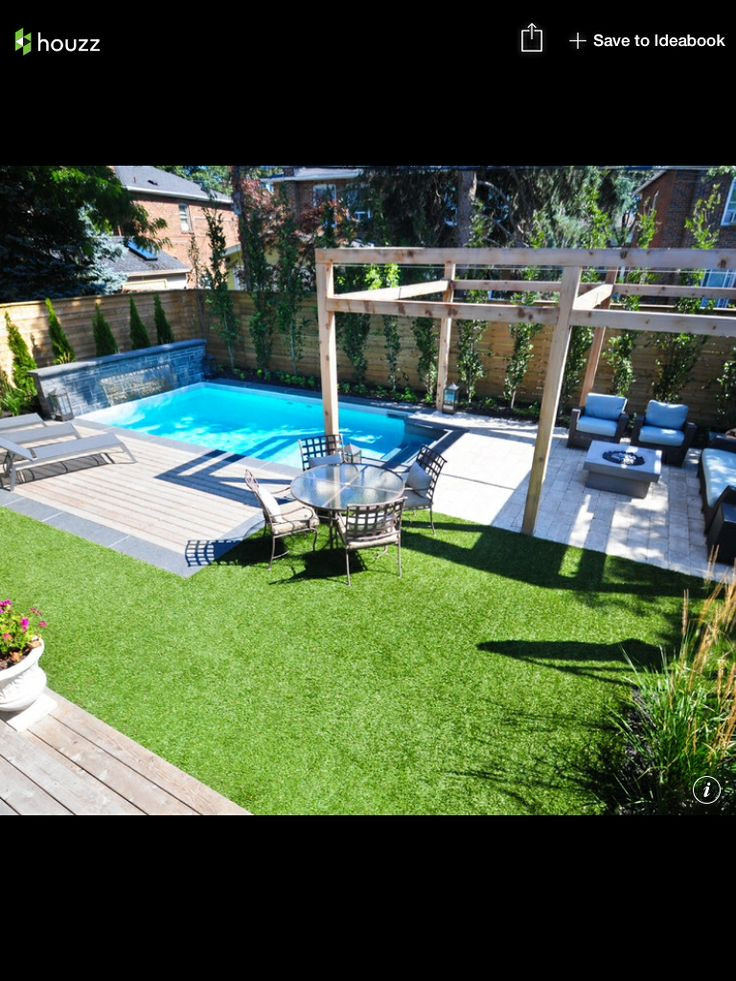 Small backyard pool firepit area in