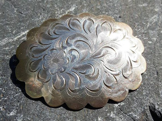 Sterling silver etched flower Made in Canada Brooch Hallmarked