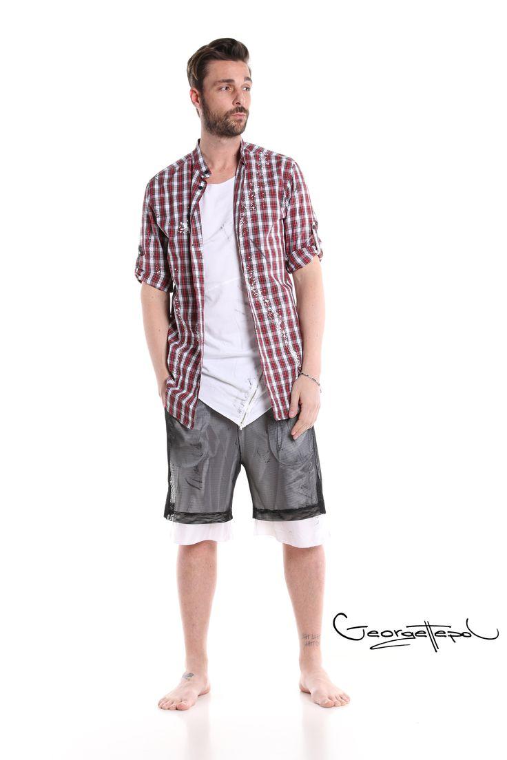 Plaid red shirt - Long white t-shirt - Bermuda basket black and white #bermuda #fashion #man #painted #summer #plaidshirt #black #iammyself #tshirt #white #black #style #georgettepol