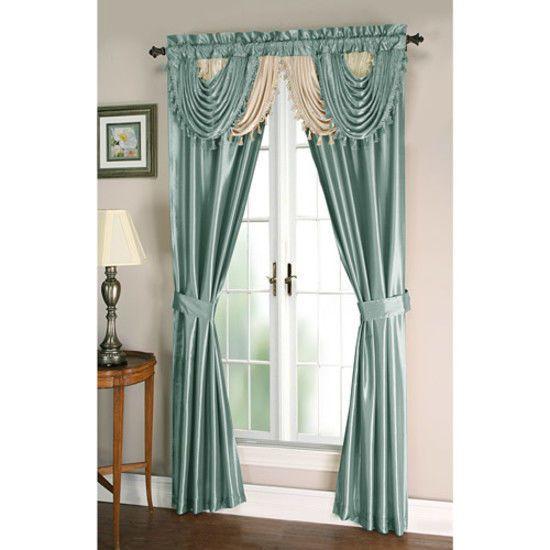 #Curtain #Panel #Amore #Window Set 5 Pc Luxurious Elegant Blue #Home #Living #Room NEW