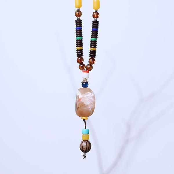 Dedicate Retro Agate Bead Pendant Necklace - Buykud