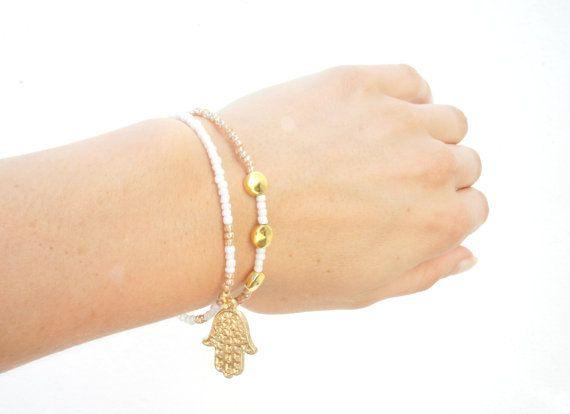 Hamsa bracelet set Beaded bracelets Dainty Jewelry by Olive1990, €4.85