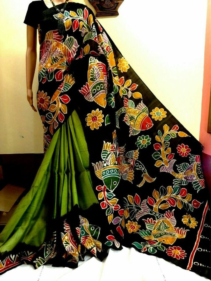 17 best images about hand painted kurti saree on pinterest for Aithihya mural painting fabrics