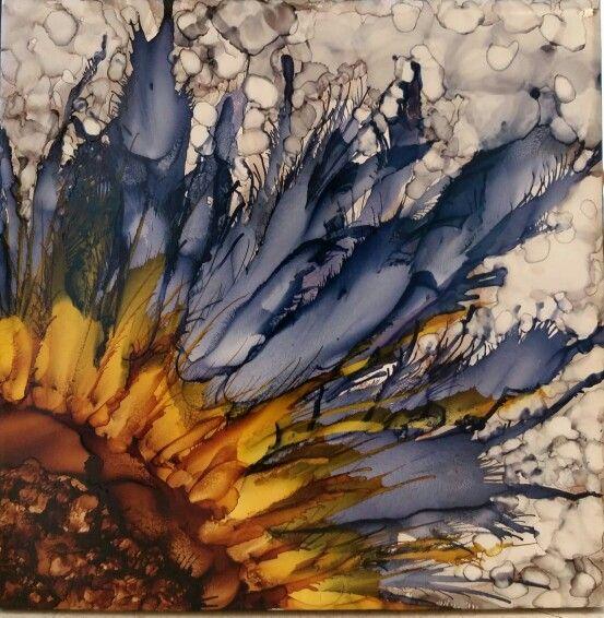 Flower, alcohol ink on tile