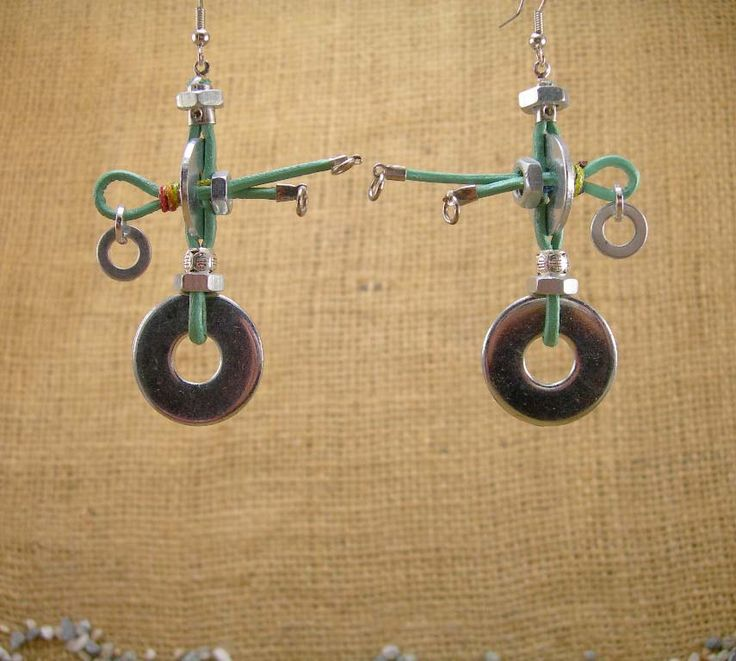 Handmade Industrial Hardware Earrings with washers-hex nuts green leather cord.