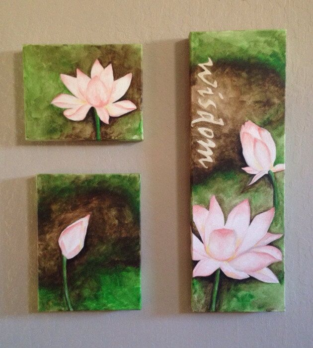 Original acrylic lotus paintings SOLD by BreanneCraig on Etsy, $300.00