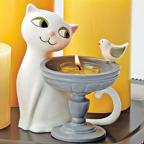 P91182 - Porte-bougie à réchaud Chat à la fontaine -44% 14.50€ au lieu de 25.90€