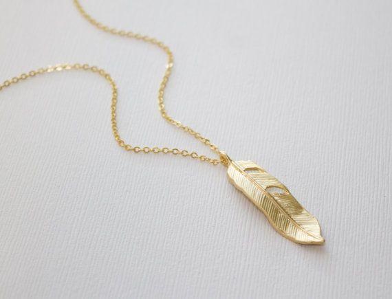 Feather ketting Gold Boheemse gelaagdheid ketting met hanger