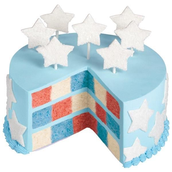 Bring this cake out for many patriotic occasions: Memorial Day, Labor Day, Veterans Day, July 4th and many more. Create the checkerboard pattern using Wilton's Checkerboard Cake Pan.