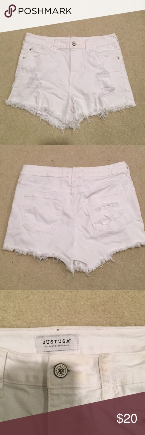 White Jean Shorts White ripped Jean shorts. Perfect condition. Worn once! JUSTUSA Shorts Jean Shorts