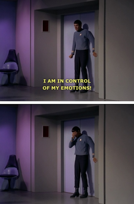 Poor Spock...This was an awkward moment for me. I wasn't sure if I needed to leave the room.