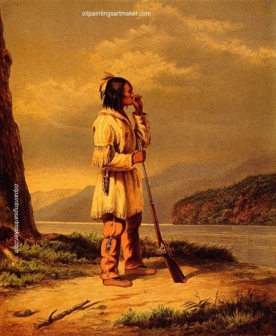 Cornelius Krieghoff Calling Moose, Huron Indian, painting Authorized official website