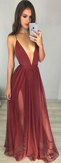 burgundy long homecoming dress, 2017 homecoming dress, sexy homecoming dress with slit, formal evening dress